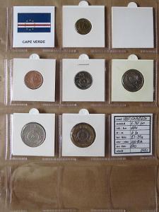 KAPVERDY: kompletní sada 6 mincí 1-100 escudos 1994 kytky UNC rámečky
