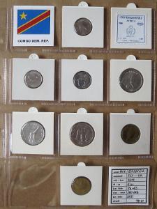 KONGO D.R: kompletní sada 8 mincí 25 centimes-1 franc 2002 UNC rámečky