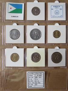 DŽIBUTSKO: nekompletní sada 7 mincí 1-100 francs 1991-99 UNC rámečky