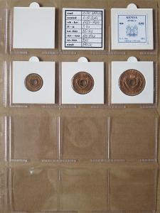 VÝCH.AFRIKA: nekompletní sada 3 mincí 1-10 cents 1957-64 UNC rámečky