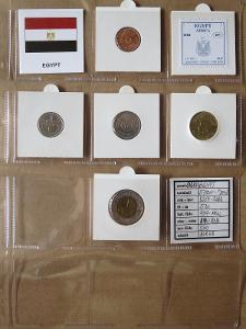 EGYPT: kompletní sada 5 mincí 5 piasters-1 pound 2004-08 UNC rámečky