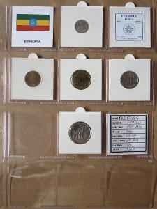 ETIOPIE: nekompletní sada 5 mincí 1-50 cents 1969-1998 UNC rámečky