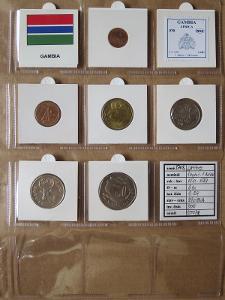 GAMBIE: kompletní sada 6 mincí 1 butut-1 dalasi 1971-87 UNC rámečky
