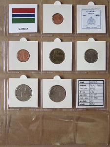GAMBIE: kompletní sada 6 mincí 1 butut-1 dalasi 1998 UNC rámečky