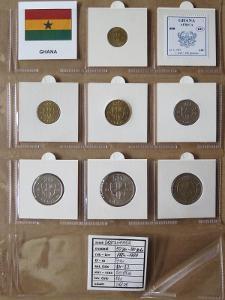 GHANA: kompletní sada 7 mincí 50 pesewas-100 cedi 1984-99 UNC rámečky