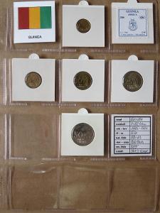 GUINEA: kompletní sada 5 mincí 1-50 francs 1985-94 UNC rámečky