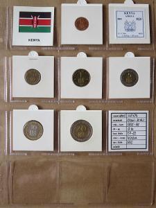 KEŃA: kompletní sada 6 mincí 10 cents-20 shillings 1995-98 UNC rámečky