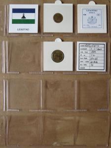 LESOTO: nekompletní sada 2 mincí 1-2 lisente 1992 UNC rámečky