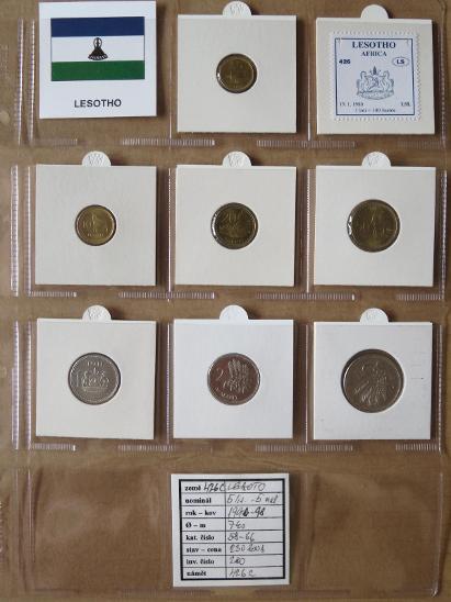 LESOTO: kompletní sada 7 mincí 5 lisente-5 maloti 1996-98 UNC rámečky - Numismatika