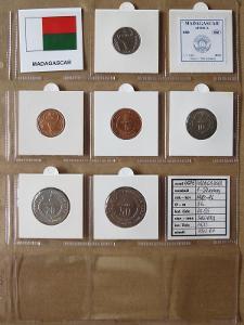 MADAGASKAR: kompletní sada 6 mincí 1-50 ariary 1992-96 UNC rámečky