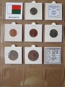 MADAGASKAR: kompletní sada 6 mincí 1-50 ariary 1996-2005 UNC rámečky