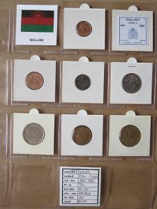 MALAWI: kompletní sada 7 mincí 0,01-1 kwacha1995-96 UNC rámečky