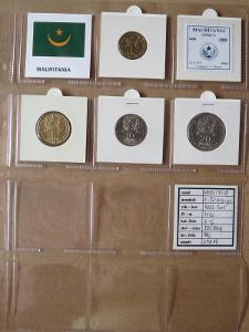 MAURITANIE: nekompletní sada 4 mincí 1-20 ouguiya 2003-05 UNC rámečky