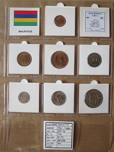 MAURITIUS: kompletní sada 7 mincí 1 cent-1 rupee 1971-78 UNC rámečky