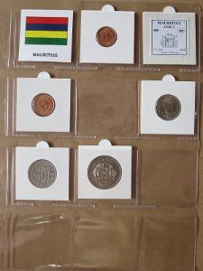 MAURITIUS: nekompletní sada 5 mincí 1 cent-5 rupee 1987-09 UNC rámečky