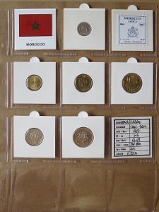 MAROKO: nekompletní sada 6 mincí 1 santim-1 dirham 1987 UNC rámečky