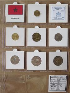 MAROKO: nekompletní sada 7 mincí 5 santimes-5 dirhams 2002 UNC rámečky