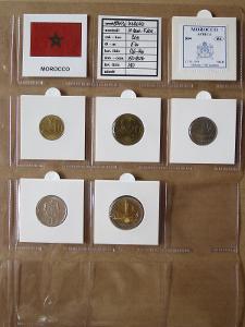 MAROKO: nekompletní sada 5 mincí 10 santim-5 dirhams 2011 UNC rámečky