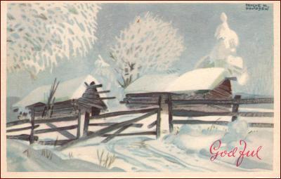 Nový rok * chalupa, stromy, zimní krajina, gratulační * X042