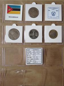 MOSAMBIK: nekompletní sada 4 mincí 500-10000 meticais 1994 UNC rámečky