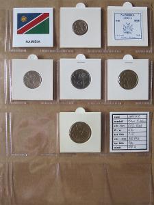 NAMIBIE: kompletní sada 5 mincí 5 cents-5 dollars 1993-06 UNC rámečky