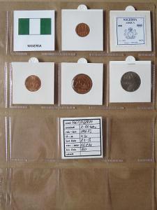 NIGERIE: nekompletní sada 4 mincí 1-50 kobo 1991-93 UNC rámečky