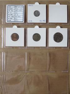 PORT.GUINEA: nekompletní sada 4 mincí 10 c.-5 esc. 1952+73 UNC rámečky