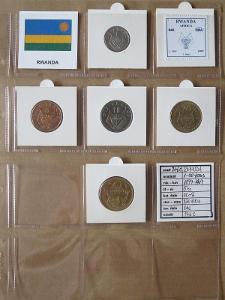 RWANDA: kompletní sada 5 mincí 1-50 francs 1977-87 UNC rámečky