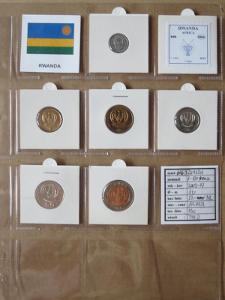 RWANDA: kompletní sada 6 mincí 1-100 francs 2003+07 UNC rámečky