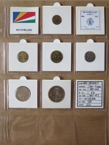 SEYCHELY: kompletní sada 6 mincí 1 cent-5 rupees 1997-03 UNC rámečky