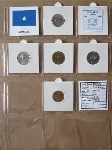 SOMÁLSKO: kompletní sada 5 mincí 5 - 100 shillings 1999-02 UNC rámečky