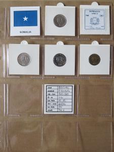 SOMÁLSKO: kompletní sada 4 mincí 5 - 100 shillings 2000-02 UNC rámečky
