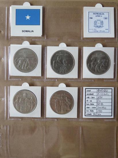 SOMÁLSKO: kompletní sada 5 mincí 5 x 10 shillings1979 UNC rámečky - Numismatika