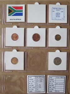 J.AFRIKA: nekompletní sada 5 mincí 2 cent - 1 rand 1997-98 UNC rámečky