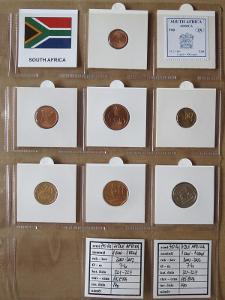 J.AFRIKA: nekompletní sada 7 mincí 1 cent - 1 rand 2000-02 UNC rámečky