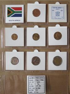 JIŽNÍ AFRIKA: kompletní sada 7 mincí 5 cent - 5 rand 2005 UNC rámečky