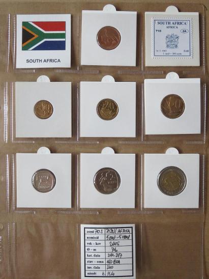 JIŽNÍ AFRIKA: kompletní sada 7 mincí 5 cent - 5 rand 2005 UNC rámečky - Numismatika