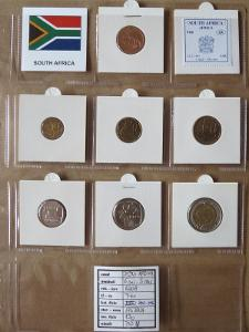 JIŽNÍ AFRIKA: kompletní sada 7 mincí 5 cent - 5 rand 2008 UNC rámečky