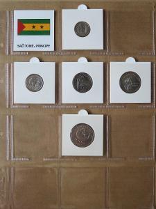 SV.TOMÁŠ: kompletní sada 5 mincí 100-2000 dobras 1997 UNC rámečky