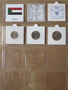 SÚDÁN: kompletní sada 3 mincí 25 piaster-1 pound 1989 UNC rámečky