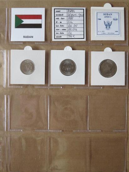 SÚDÁN: kompletní sada 3 mincí 25 piaster-1 pound 1989 UNC rámečky - Numismatika