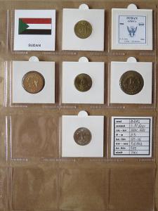 SÚDÁN: kompletní sada 5 mincí 1-20 dinars 199-99 UNC rámečky