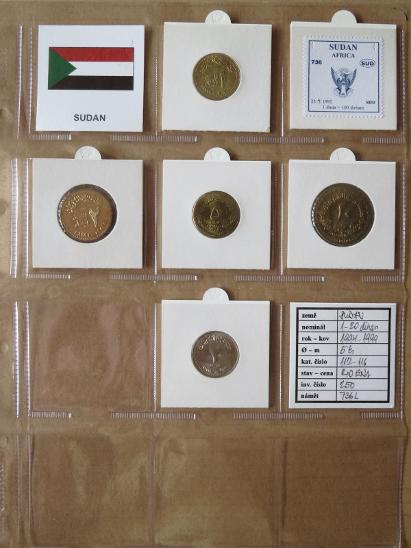 SÚDÁN: kompletní sada 5 mincí 1-20 dinars 199-99 UNC rámečky - Numismatika