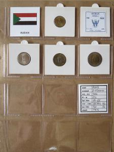 SÚDÁN: nekompletní sada 4 mincí 5-50 piasters 2006 UNC rámečky