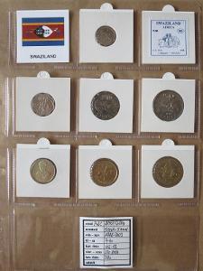 SVAZIJSKO: kompletní sada 7 mincí 0,05-5 emalangeni 1996 UNC rámečky