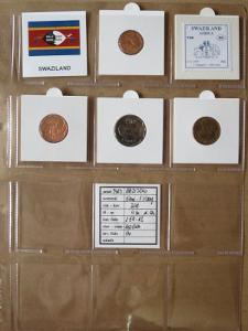 SVAZIJSKO: nekompletní sada 4 mincí 0,05-1 emalangeni 2011 UNC rámečky