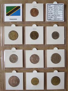 TANZANIE: kompletní sada 10 mincí 5 cent-100 shilingi 1979 UNC rámečky
