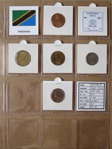 TANZANIE: nekompletní sada 5 mincí 5 cents-1 shilingi 1979 UNC rámečky