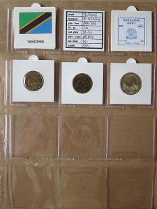 TANZANIE: kompletní sada 3 mincí 50-200 shilingi 1993-2012 UNC rámečky