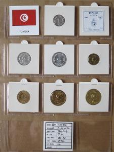 TUNISKO: nekompletní sada 7 mincí 1-100 millimes 1960-97 UNC rámečky